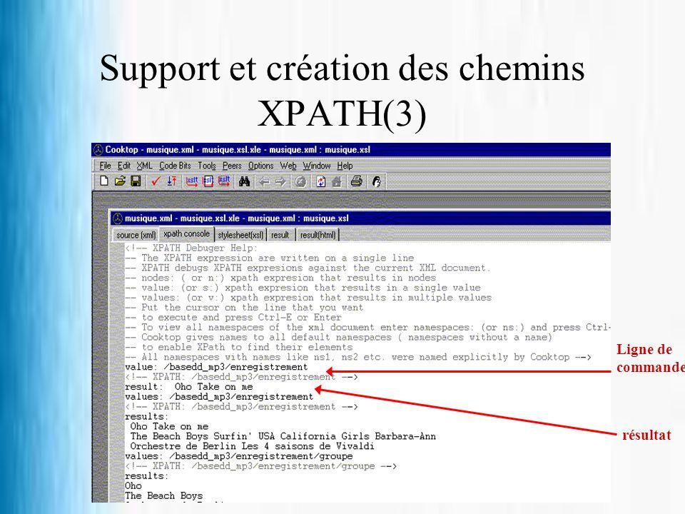 Support et création des chemins XPATH(3) Ligne de commande résultat