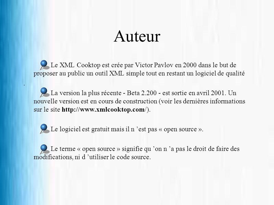 Auteur Le XML Cooktop est crée par Victor Pavlov en 2000 dans le but de proposer au public un outil XML simple tout en restant un logiciel de qualité.