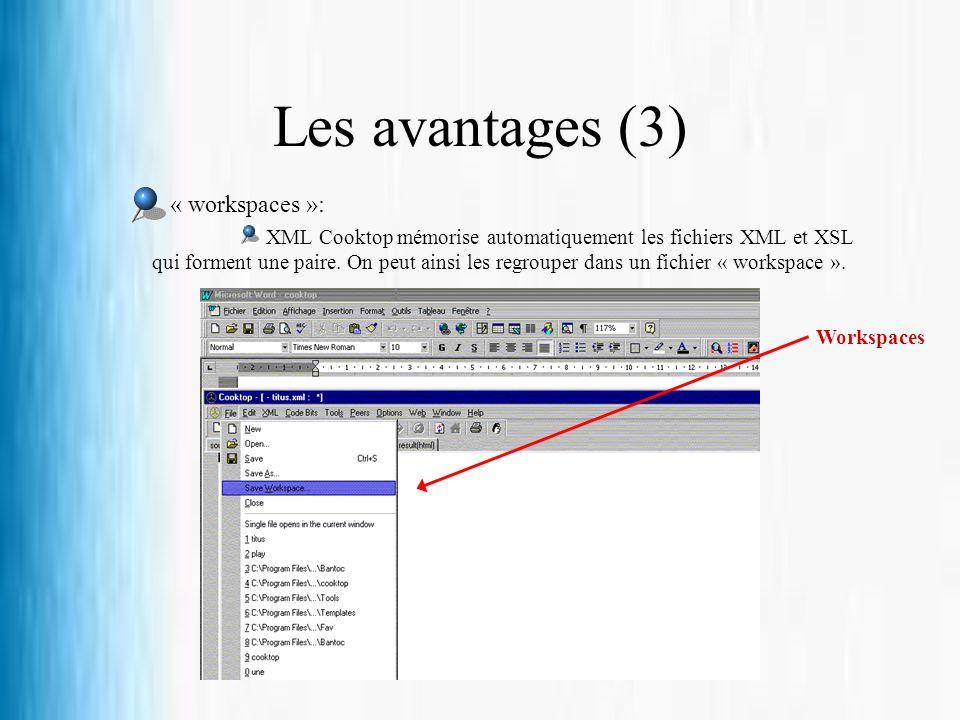 Les avantages (3) « workspaces »: XML Cooktop mémorise automatiquement les fichiers XML et XSL qui forment une paire. On peut ainsi les regrouper dans