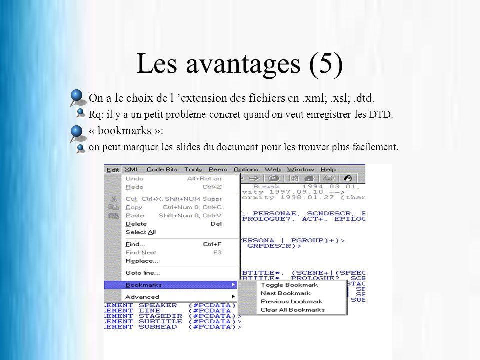 Les avantages (5) On a le choix de l extension des fichiers en.xml;.xsl;.dtd. Rq: il y a un petit problème concret quand on veut enregistrer les DTD.