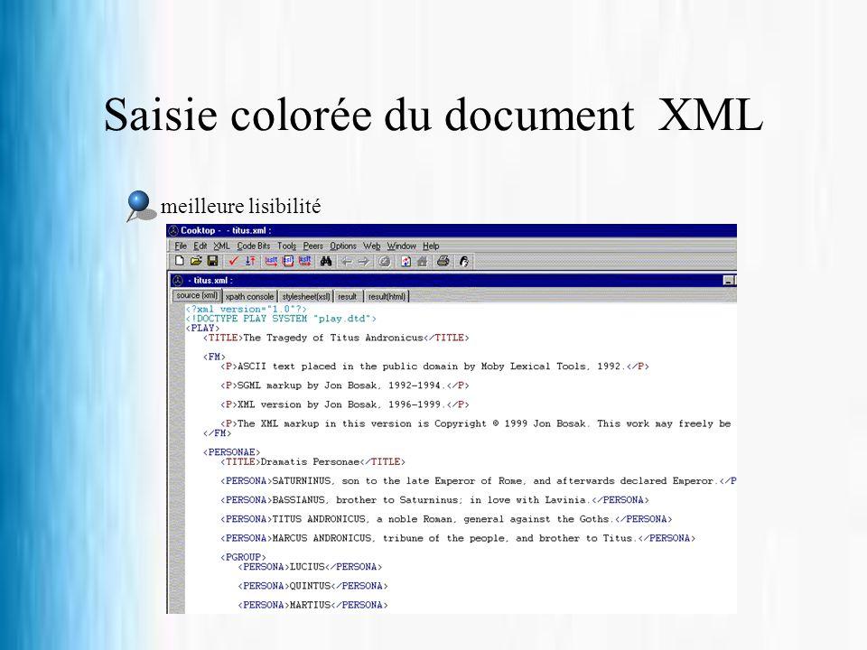 Saisie colorée du document XML meilleure lisibilité