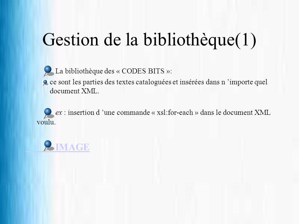 Gestion de la bibliothèque(1) La bibliothèque des « CODES BITS »: ce sont les parties des textes cataloguées et insérées dans n importe quel document
