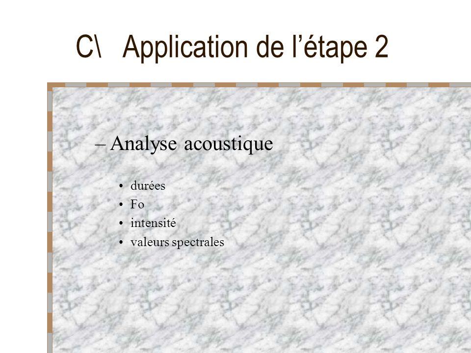 C\ Application de létape 2 –Analyse acoustique durées Fo intensité valeurs spectrales