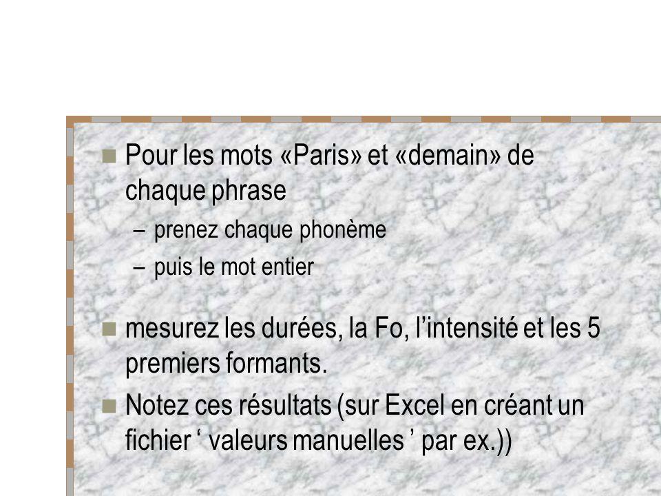 Pour les mots «Paris» et «demain» de chaque phrase –prenez chaque phonème –puis le mot entier mesurez les durées, la Fo, lintensité et les 5 premiers formants.