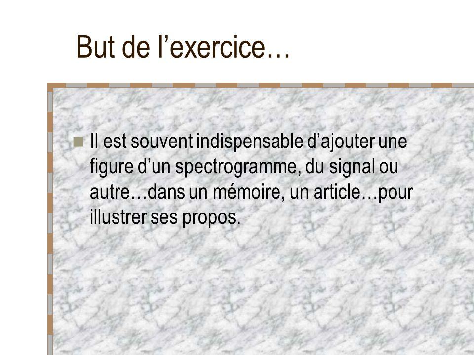 But de lexercice… Il est souvent indispensable dajouter une figure dun spectrogramme, du signal ou autre…dans un mémoire, un article…pour illustrer ses propos.