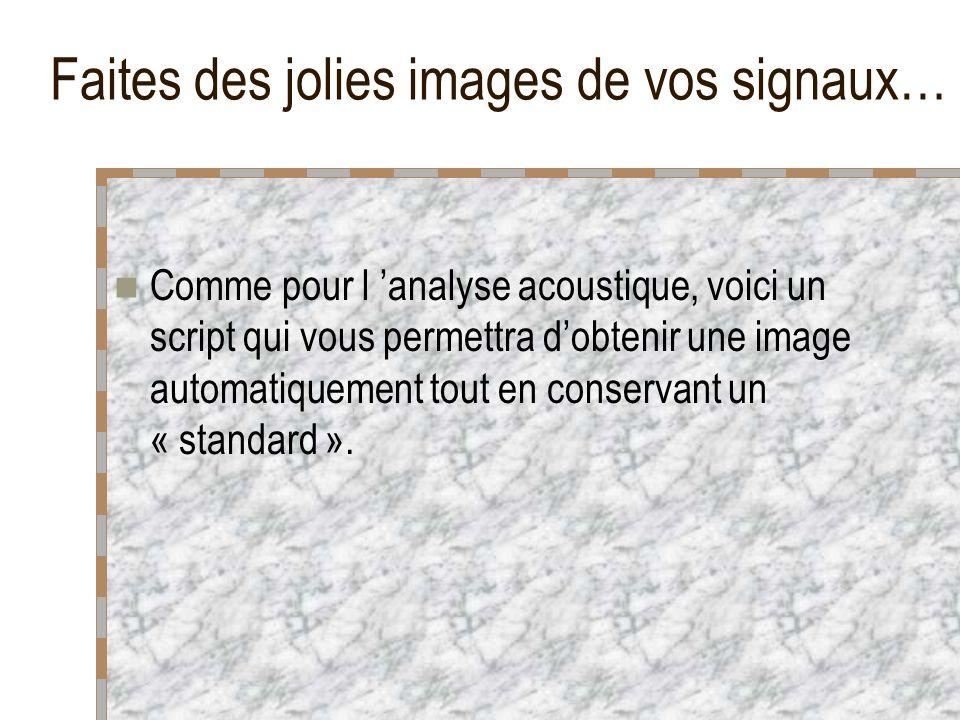Faites des jolies images de vos signaux… Comme pour l analyse acoustique, voici un script qui vous permettra dobtenir une image automatiquement tout en conservant un « standard ».