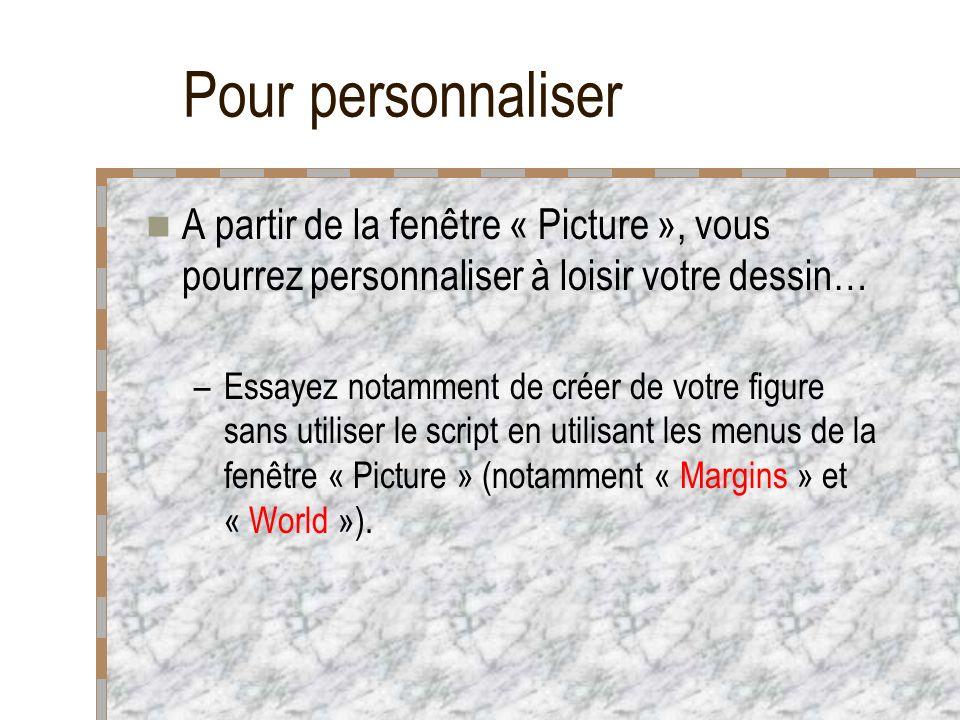 Pour personnaliser A partir de la fenêtre « Picture », vous pourrez personnaliser à loisir votre dessin… –Essayez notamment de créer de votre figure sans utiliser le script en utilisant les menus de la fenêtre « Picture » (notamment « Margins » et « World »).