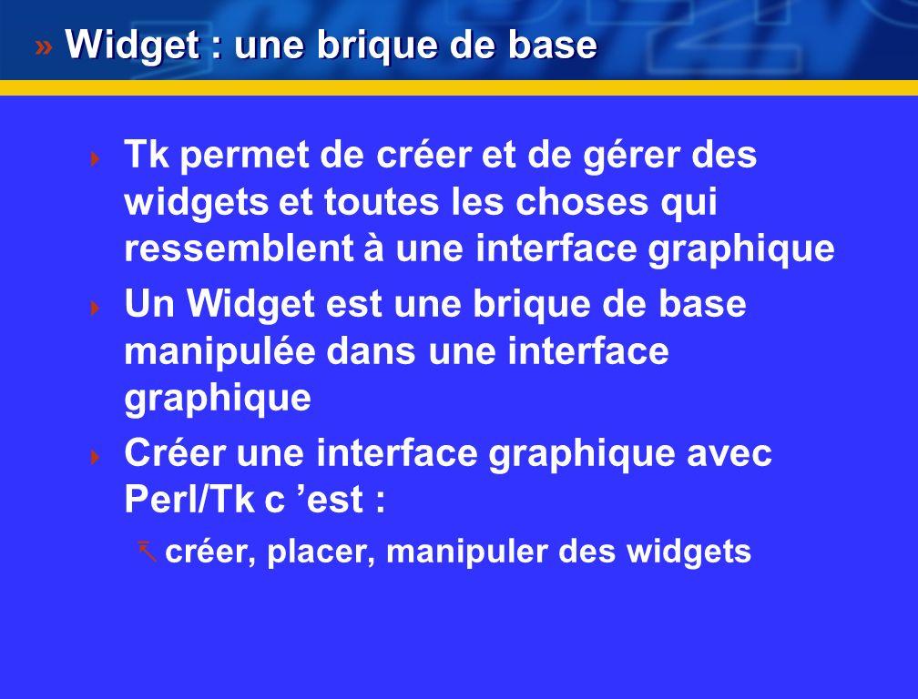 Premières clés : création d une fenêtre #! /usr/bin/perl use Tk; $main = MainWindow->new(-title=>'Convertisseur Euro :'); MainLoop; La première ligne