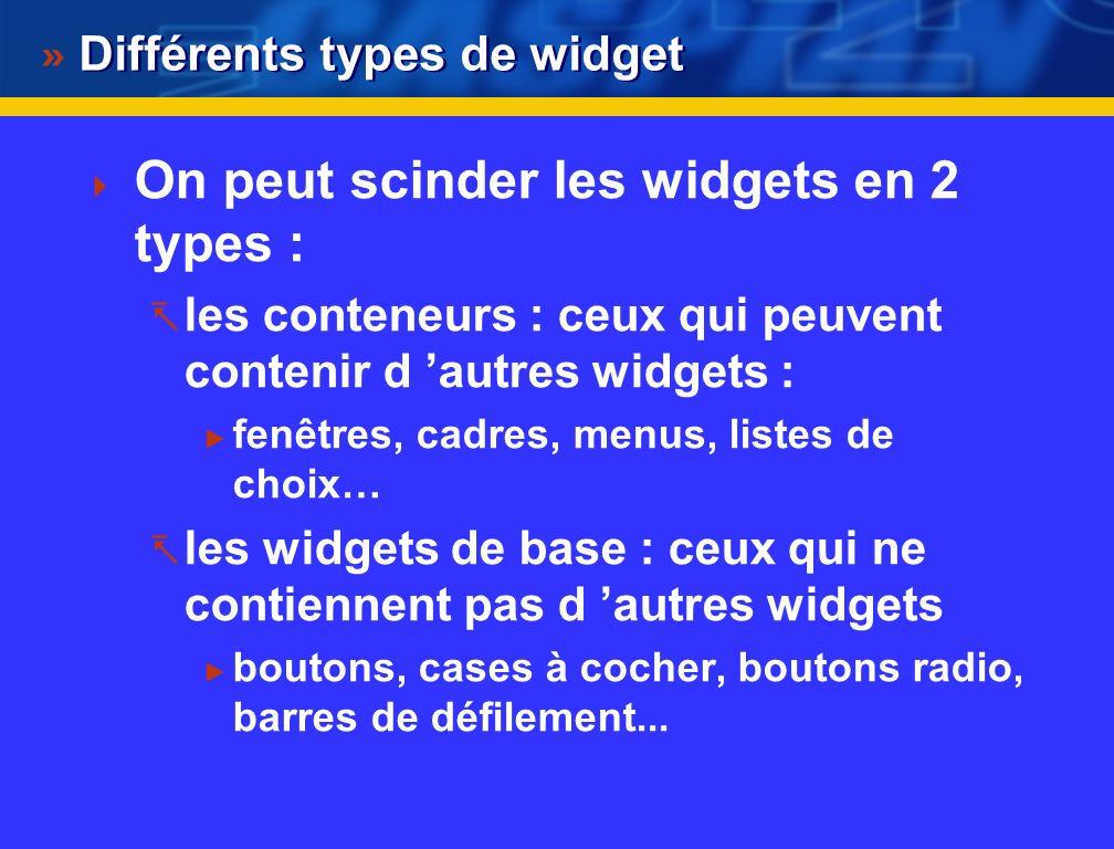 Widget : une brique de base Tk permet de créer et de gérer des widgets et toutes les choses qui ressemblent à une interface graphique Un Widget est un