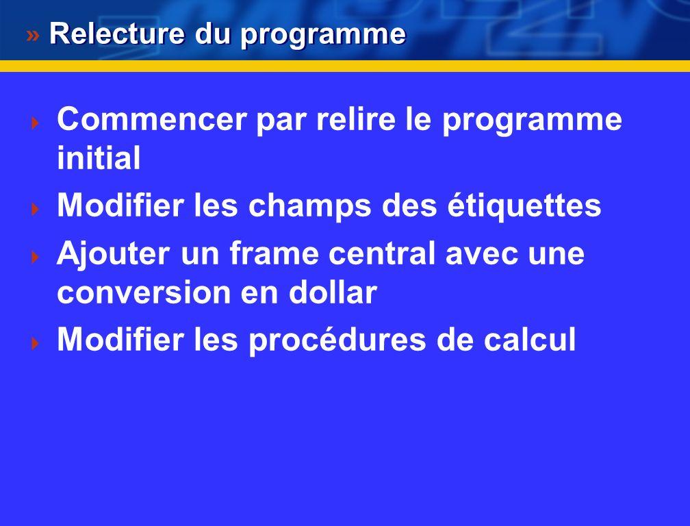 Définir des actions sur les widgets $raz = $frame2->Button(-text=> RAZ , -command=>\&vider)- >pack(-side=> left , -padx=>20, -pady=>5); $calcul = $frame2->Button(-text=> Calculer , - command=>\&calcul)->pack(-side=> right , -padx=>20, - pady=>5); Le code ci-dessus associe des actions aux boutons définis : le bouton raz défini dans le widget frame2 est associé à un label texte « RAZ » et à une action définie par l appel de la procédure « &vider », le code de cette procédure est défini dans le programme (cf code complet) le bouton calcul défini dans le widget frame2 est associé à un label texte « Calculer » et à une action définie par l appel de la procédure « &calcul », le code de cette procédure est défini dans le programme (cf code complet)