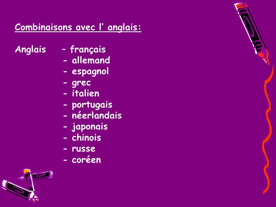 Combinaisons avec l anglais: Anglais – français - allemand - espagnol - grec - italien - portugais - néerlandais - japonais - chinois - russe - coréen