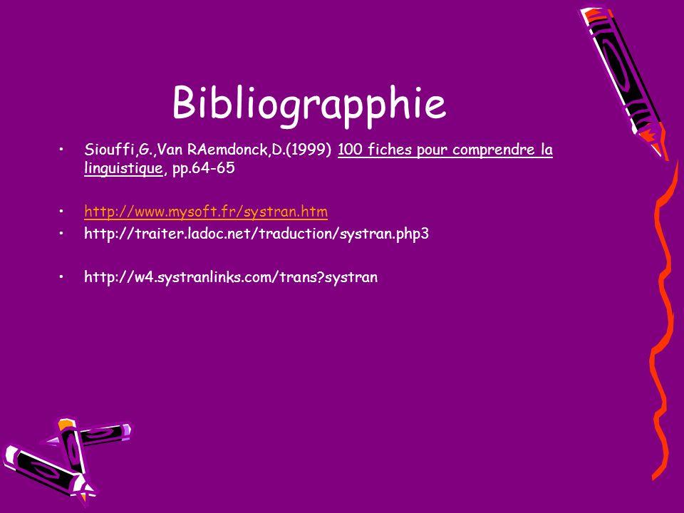 Bibliograpphie Siouffi,G.,Van RAemdonck,D.(1999) 100 fiches pour comprendre la linguistique, pp.64-65 http://www.mysoft.fr/systran.htm http://traiter.ladoc.net/traduction/systran.php3 http://w4.systranlinks.com/trans?systran