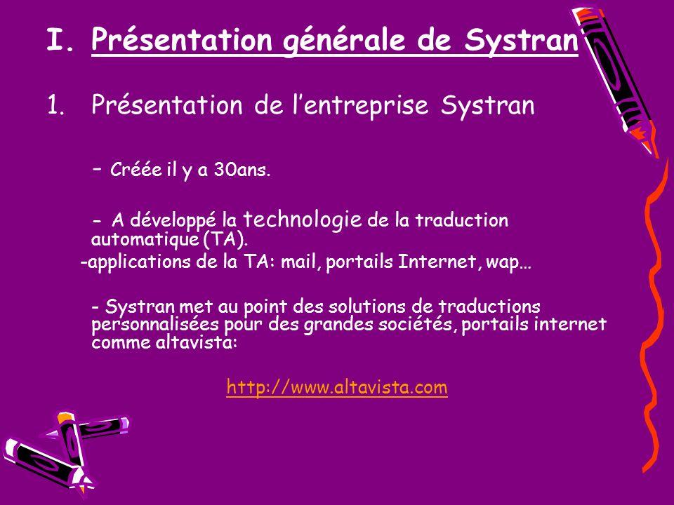 I.Présentation générale de Systran 1.Présentation de lentreprise Systran - Créée il y a 30ans. - A développé la technologie de la traduction automatiq