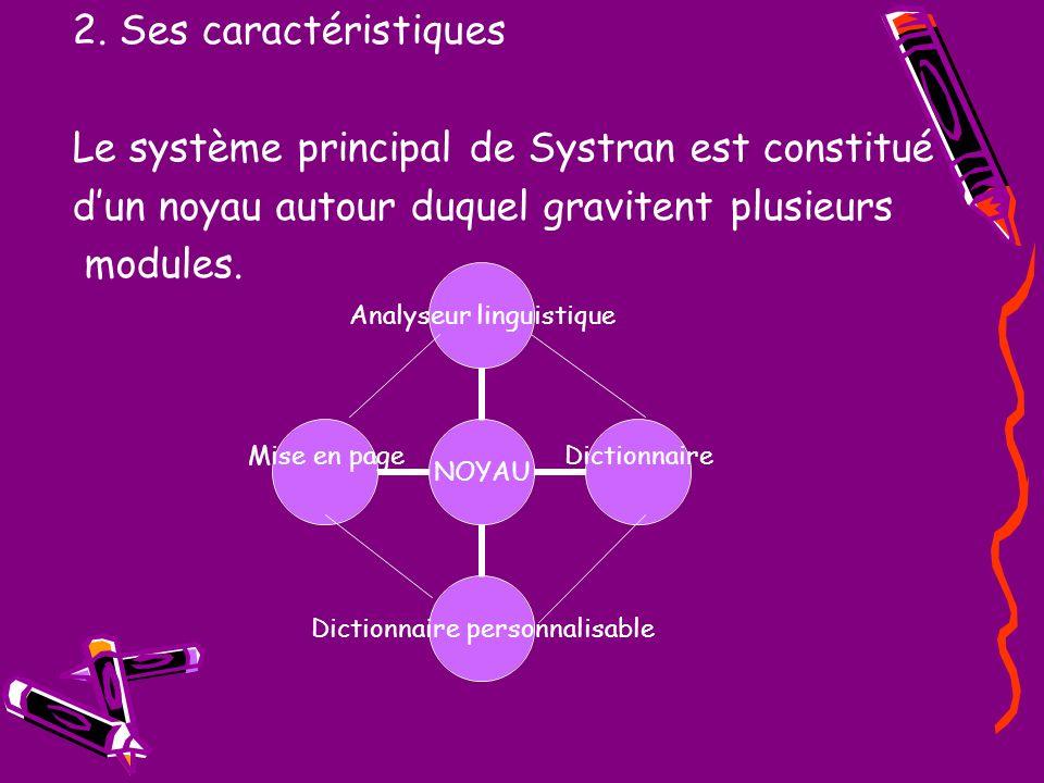 2. Ses caractéristiques Le système principal de Systran est constitué dun noyau autour duquel gravitent plusieurs modules. NOYAU Analyseur linguistiqu