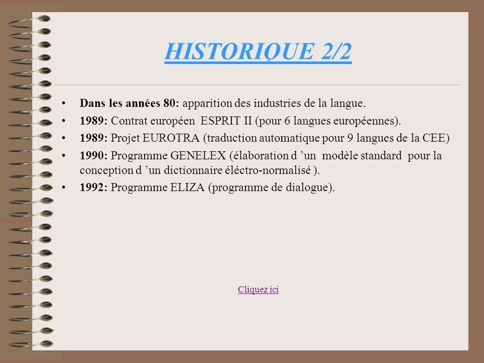 HISTORIQUE 1/2 Environ 1440: Précédents historiques du TAL (entendu au sens large comme simulation des activités langagières par des moyens mécaniques