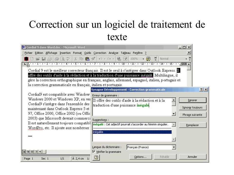 Corrige vos textesCorrige vos textes –Correction orthographique, typographique et grammaticale du français dans votre traitement de texte. –Correction