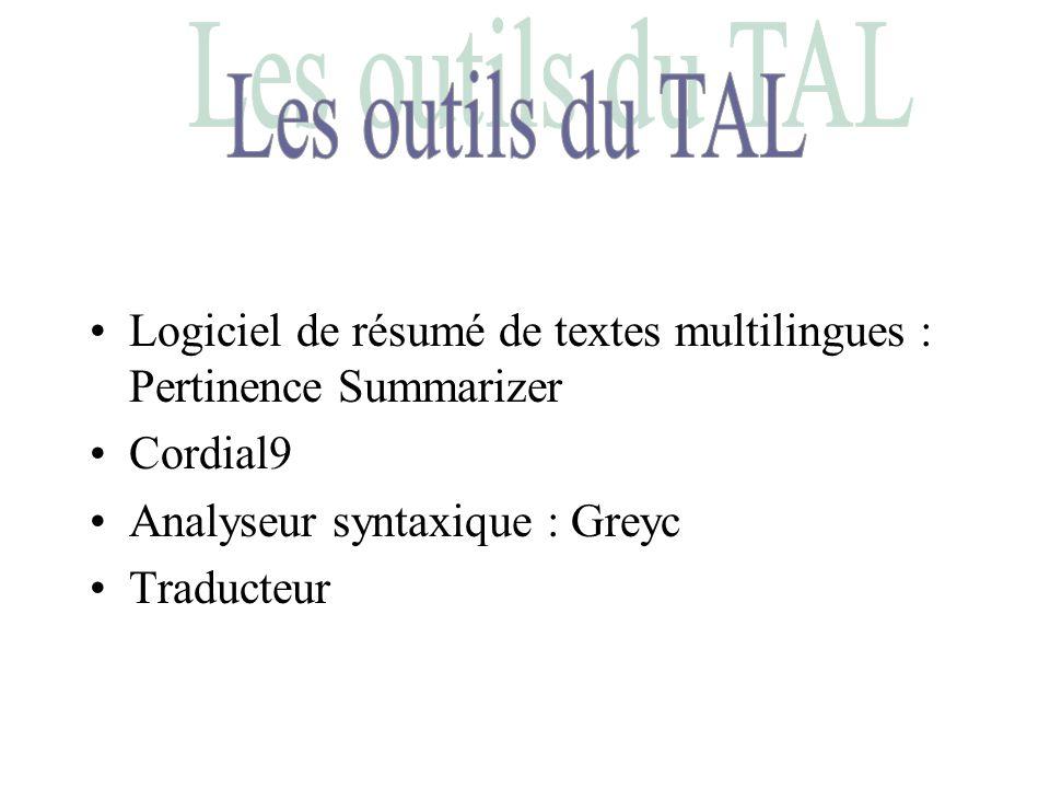 Bibliographie Site de l ILPGA http://www.cavi-univ.paris3/ilpga/ilpga –lien ELDA (sur le logiciel pertinence) –TD de Maria ZIMINA sur le logiciel Cordial Moteurs de recherche –Lycos ==> http://user.info.univcaen.fr (pour le logiciel Greyc) –Google ==> http://www.synapse-fr.com (pour le logiciel Cordial) http://www.pertinence.net (pour le logiciel pertinence).