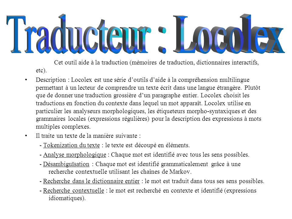 Le choix de la langue Les caractéristiques de loutil Description de lanalyseur