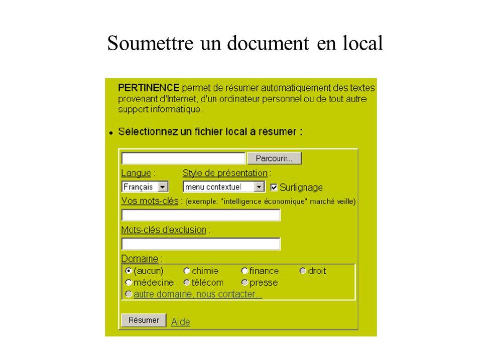 Soumettre un document en local