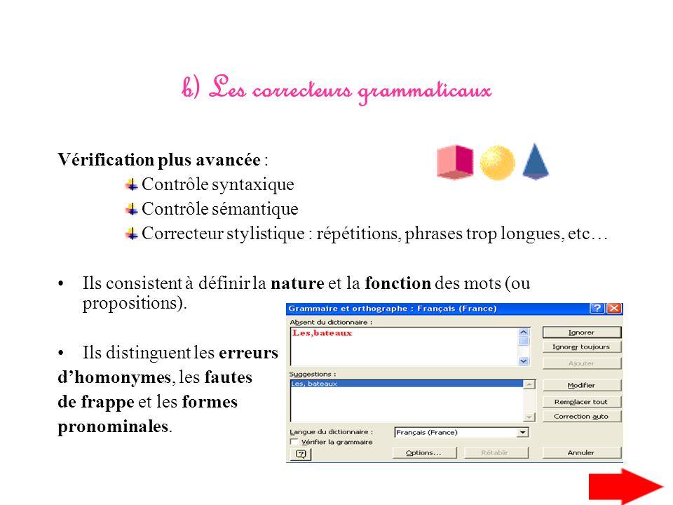 I) Les correcteurs orthographiques et grammaticaux -V-Vérifient lorthographe des mots dans un document -V-Vérification à laide du dictionnaire du logi