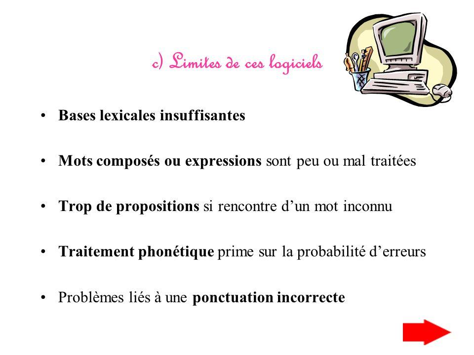 b) Les correcteurs grammaticaux Vérification plus avancée : Contrôle syntaxique Contrôle sémantique Correcteur stylistique : répétitions, phrases trop