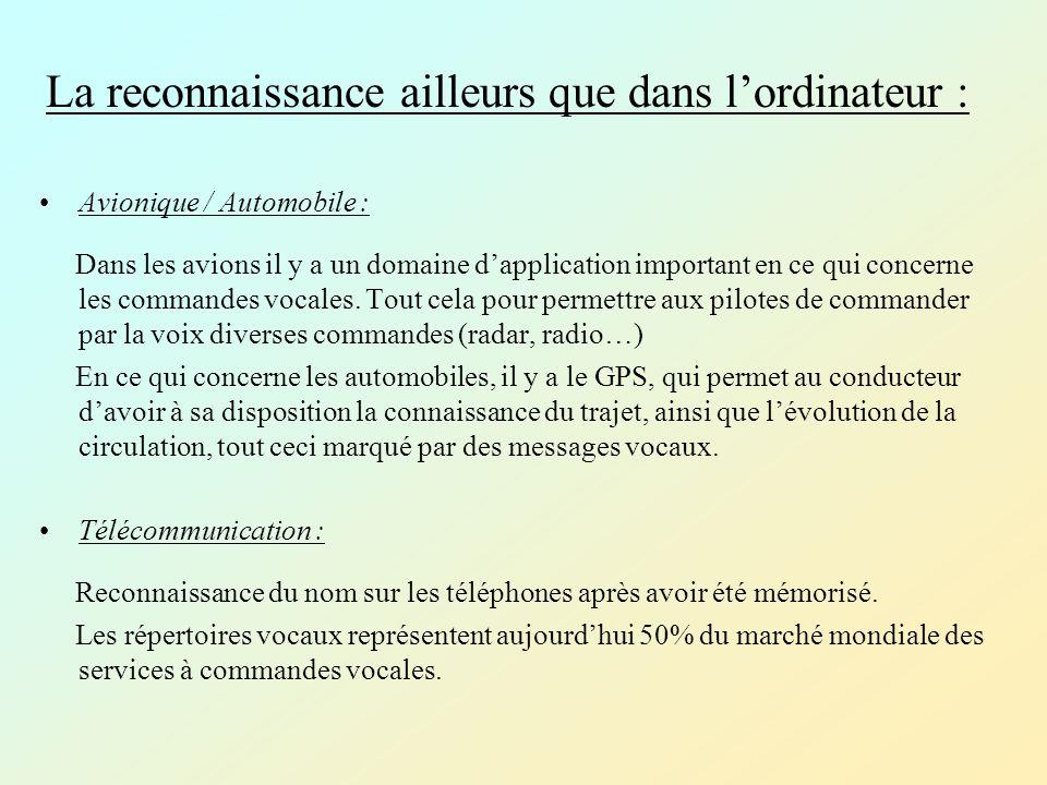 La reconnaissance ailleurs que dans lordinateur : Avionique / Automobile : Dans les avions il y a un domaine dapplication important en ce qui concerne les commandes vocales.