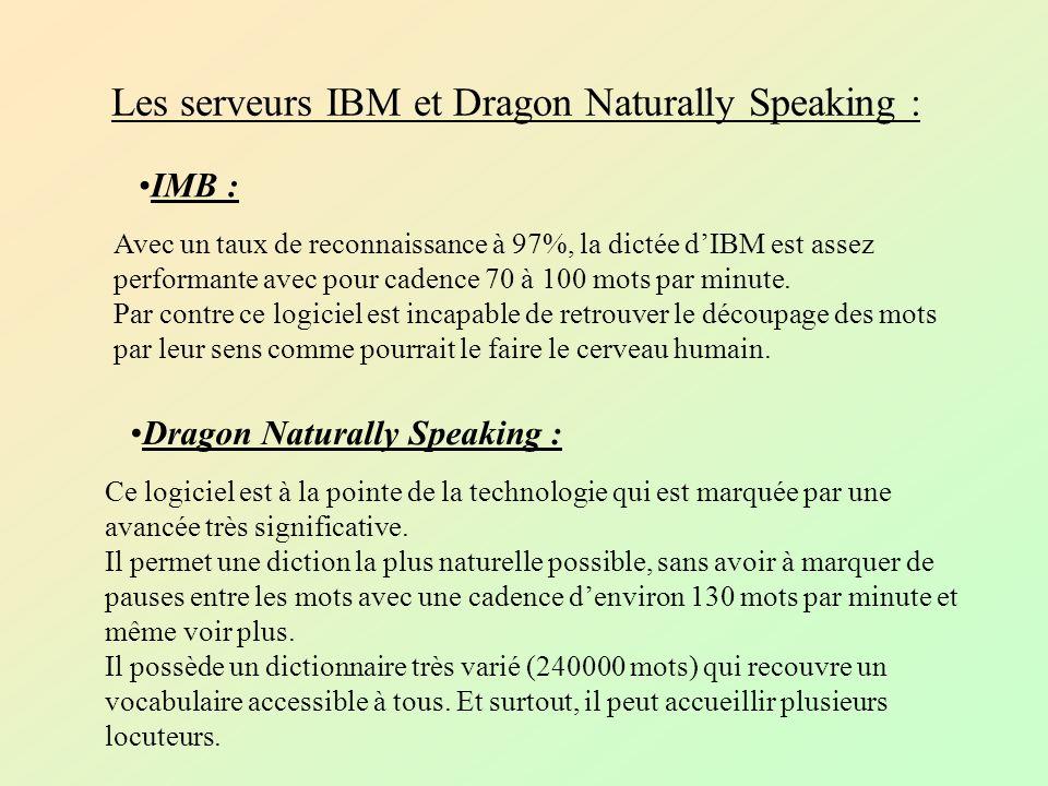 Les serveurs IBM et Dragon Naturally Speaking : IMB : Dragon Naturally Speaking : Avec un taux de reconnaissance à 97%, la dictée dIBM est assez performante avec pour cadence 70 à 100 mots par minute.