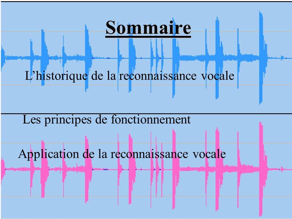 A quoi ressemble la reconnaissance vocale : « Parlez à votre ordinateur et il retranscrit vos paroles à lécran » La reconnaissance vocale sert à retranscrire les mots prononcés par un locuteur lors de traitement de textes.