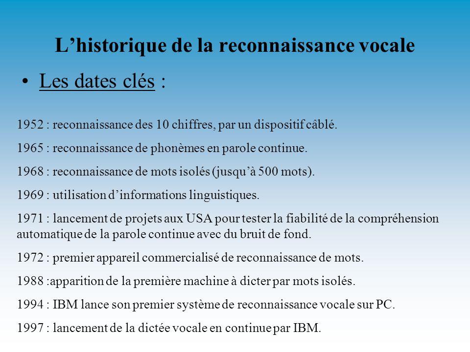 Lhistorique de la reconnaissance vocale Les dates clés : 1952 : reconnaissance des 10 chiffres, par un dispositif câblé.