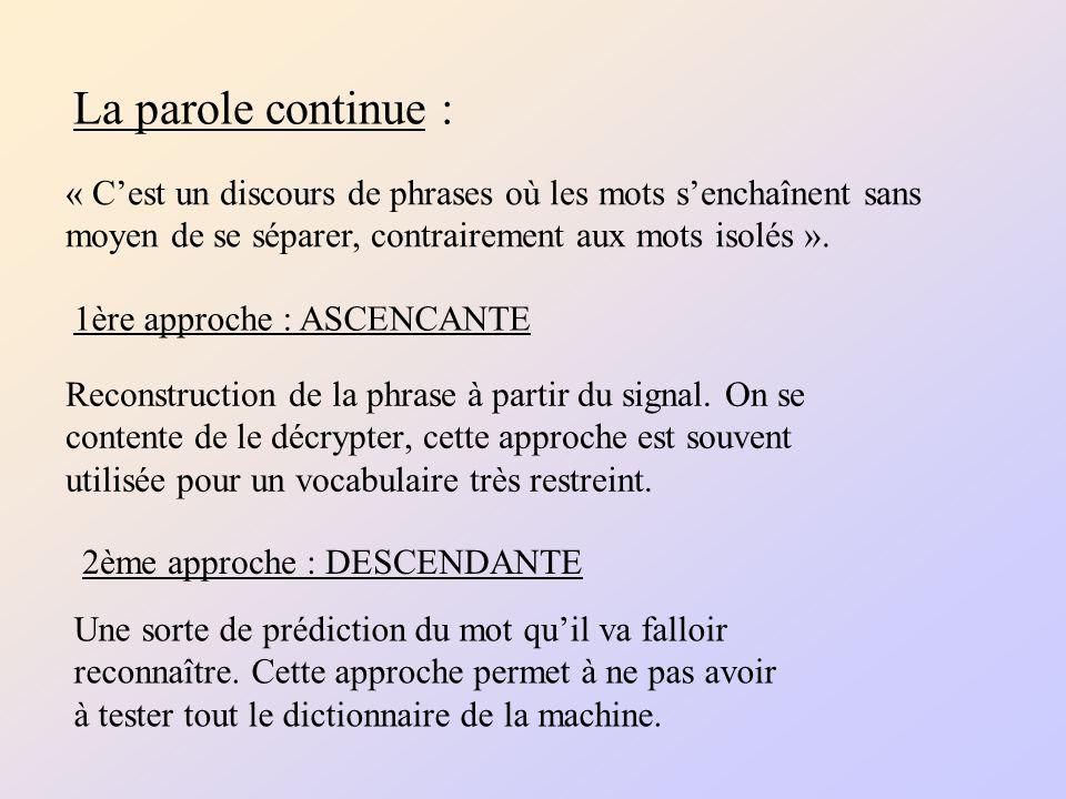 La parole continue : Reconstruction de la phrase à partir du signal.