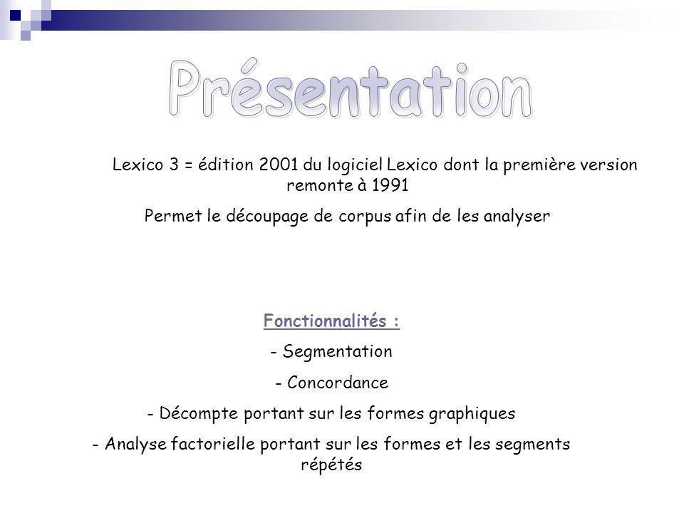 Lexico 3 = édition 2001 du logiciel Lexico dont la première version remonte à 1991 Permet le découpage de corpus afin de les analyser Fonctionnalités