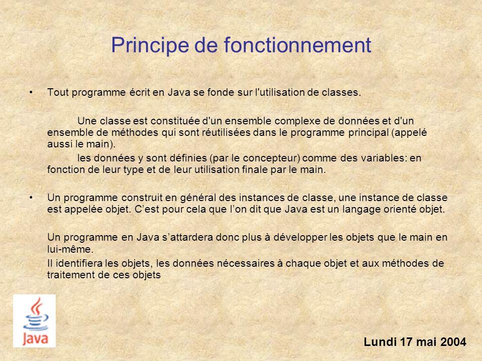 Principe de fonctionnement Tout programme écrit en Java se fonde sur l'utilisation de classes. Une classe est constituée d'un ensemble complexe de don