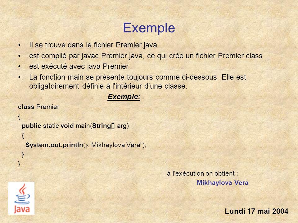 Exemple Il se trouve dans le fichier Premier.java est compilé par javac Premier.java, ce qui crée un fichier Premier.class est exécuté avec java Premi