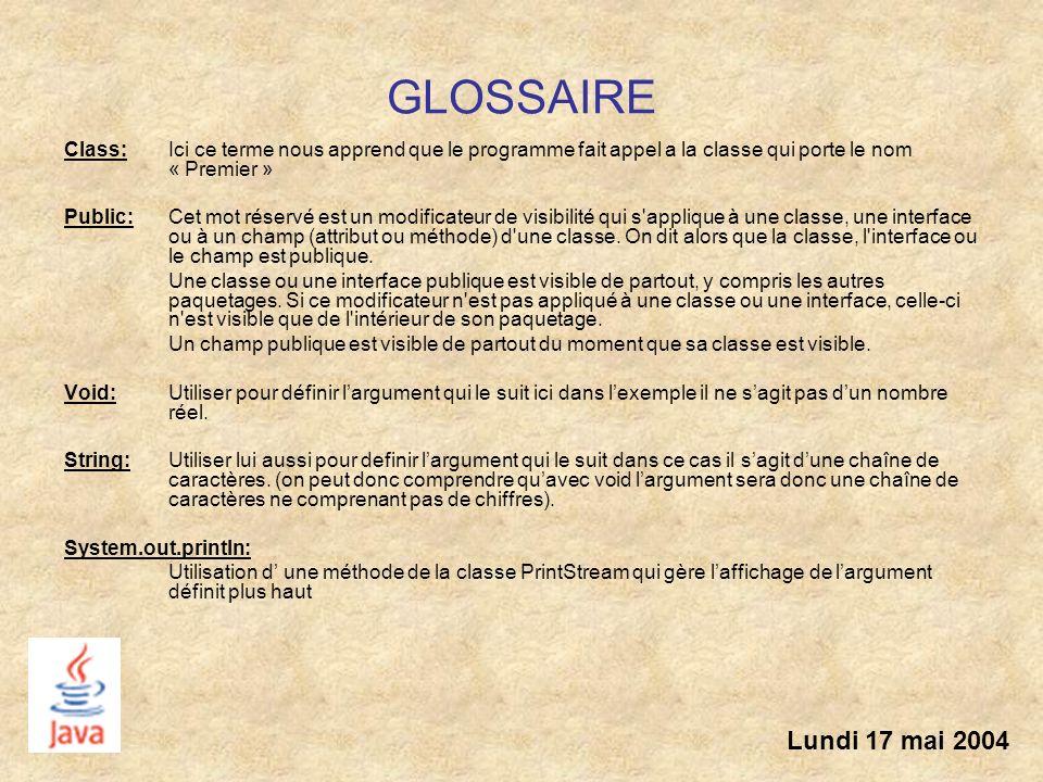 GLOSSAIRE Class: Ici ce terme nous apprend que le programme fait appel a la classe qui porte le nom « Premier » Public: Cet mot réservé est un modific