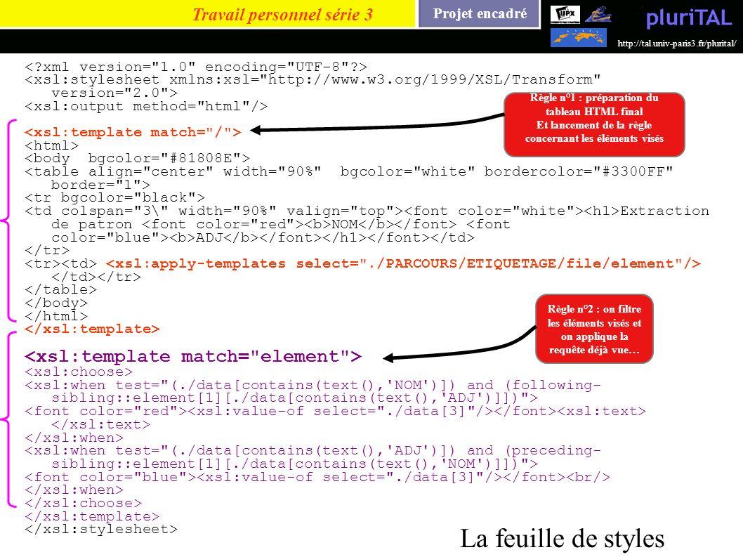 Projet encadré http://tal.univ-paris3.fr/plurital/ Extraction de patron NOM ADJ Travail personnel série 3 La feuille de styles Règle n°2 : on filtre l