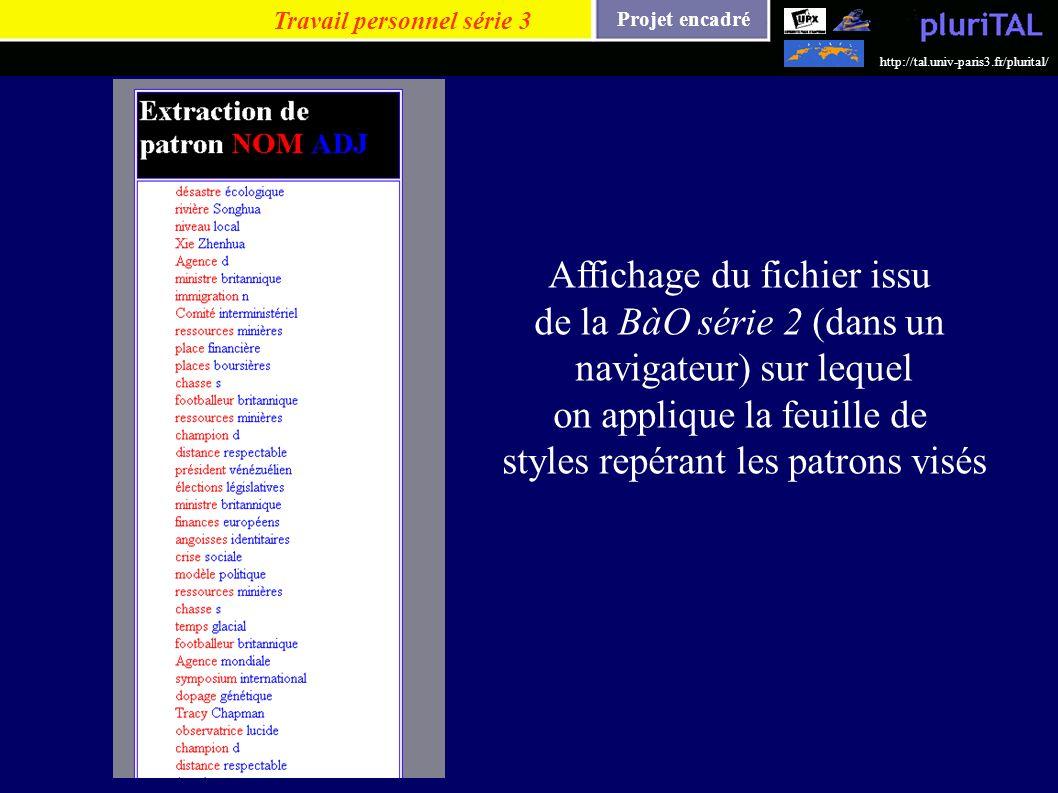 Projet encadré http://tal.univ-paris3.fr/plurital/ Travail personnel série 3 Affichage du fichier issu de la BàO série 2 (dans un navigateur) sur lequ