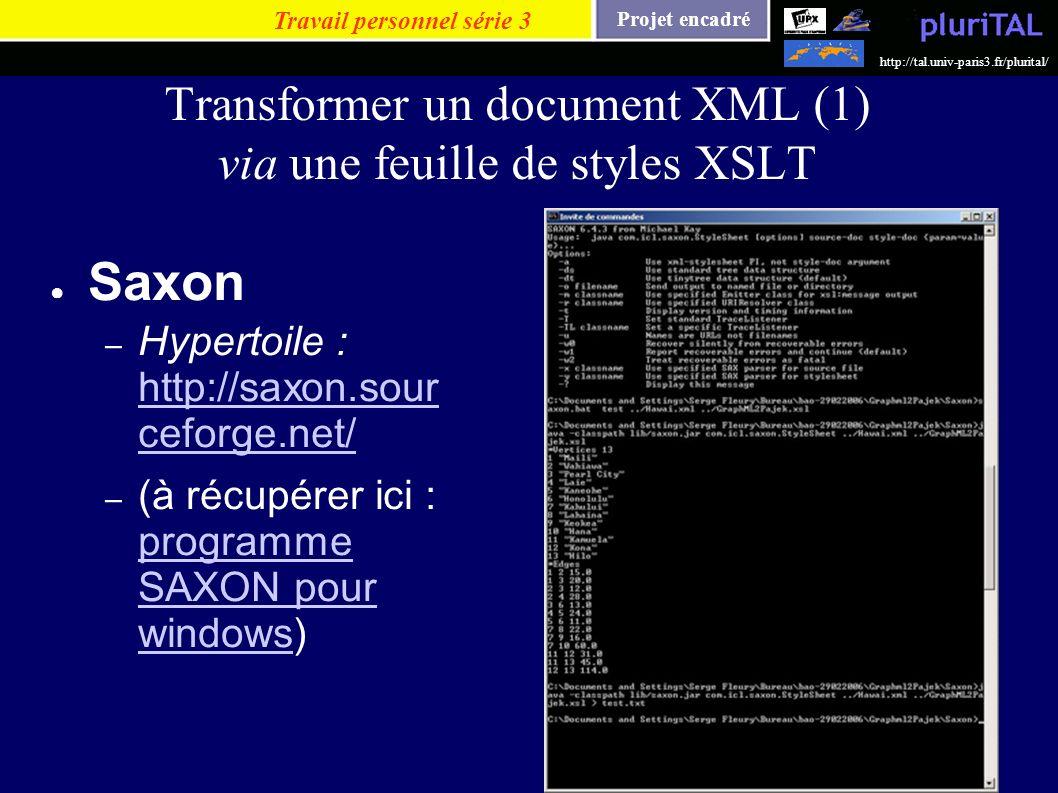Projet encadré http://tal.univ-paris3.fr/plurital/ Transformer un document XML (1) via une feuille de styles XSLT Saxon – Hypertoile : http://saxon.so