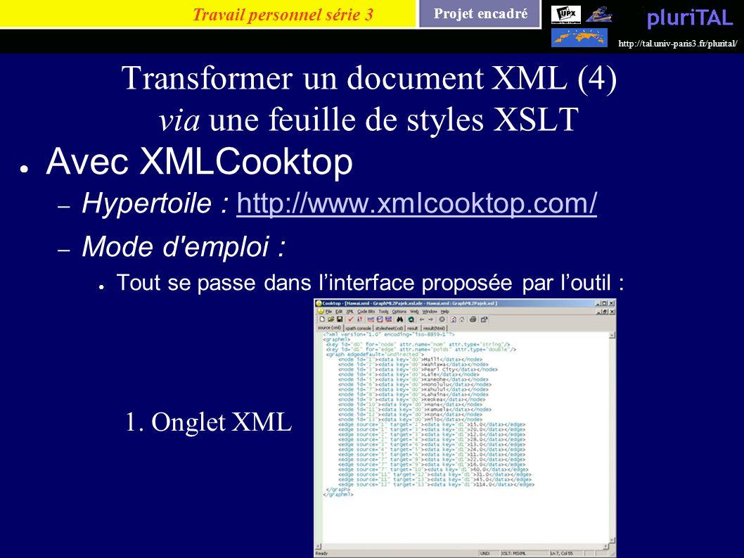 Projet encadré http://tal.univ-paris3.fr/plurital/ Transformer un document XML (4) via une feuille de styles XSLT Avec XMLCooktop – Hypertoile : http: