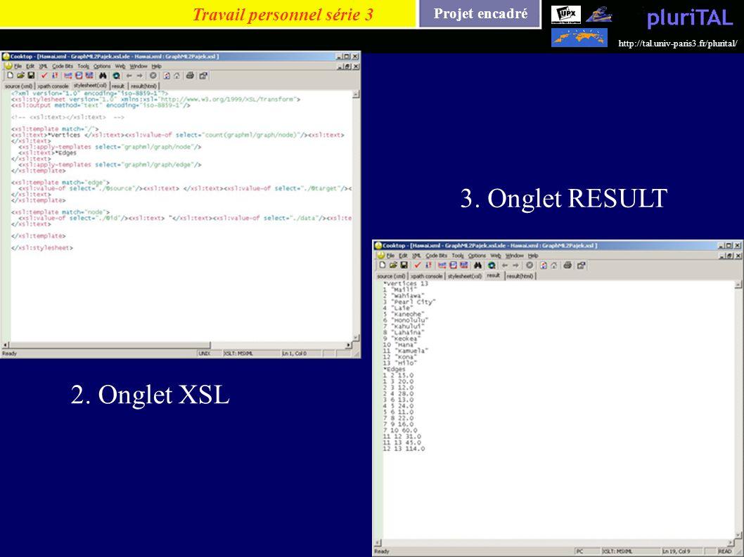 Projet encadré http://tal.univ-paris3.fr/plurital/ Travail personnel série 3 2. Onglet XSL 3. Onglet RESULT