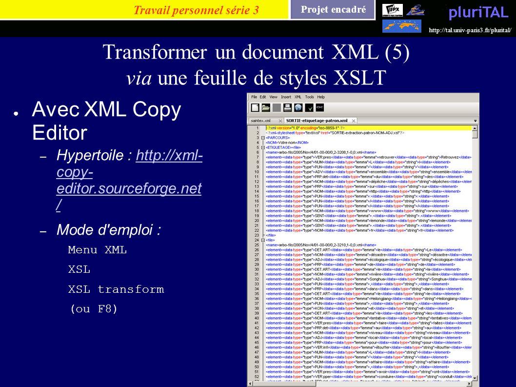 Projet encadré http://tal.univ-paris3.fr/plurital/ Transformer un document XML (5) via une feuille de styles XSLT Avec XML Copy Editor – Hypertoile :