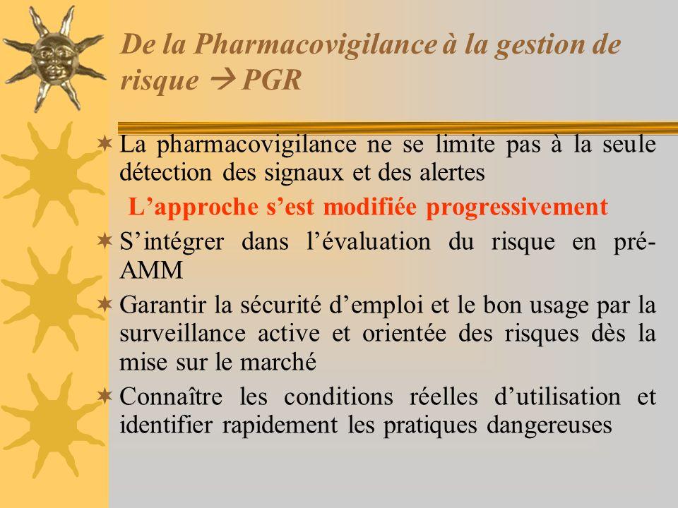 De la Pharmacovigilance à la gestion de risque PGR La pharmacovigilance ne se limite pas à la seule détection des signaux et des alertes Lapproche ses