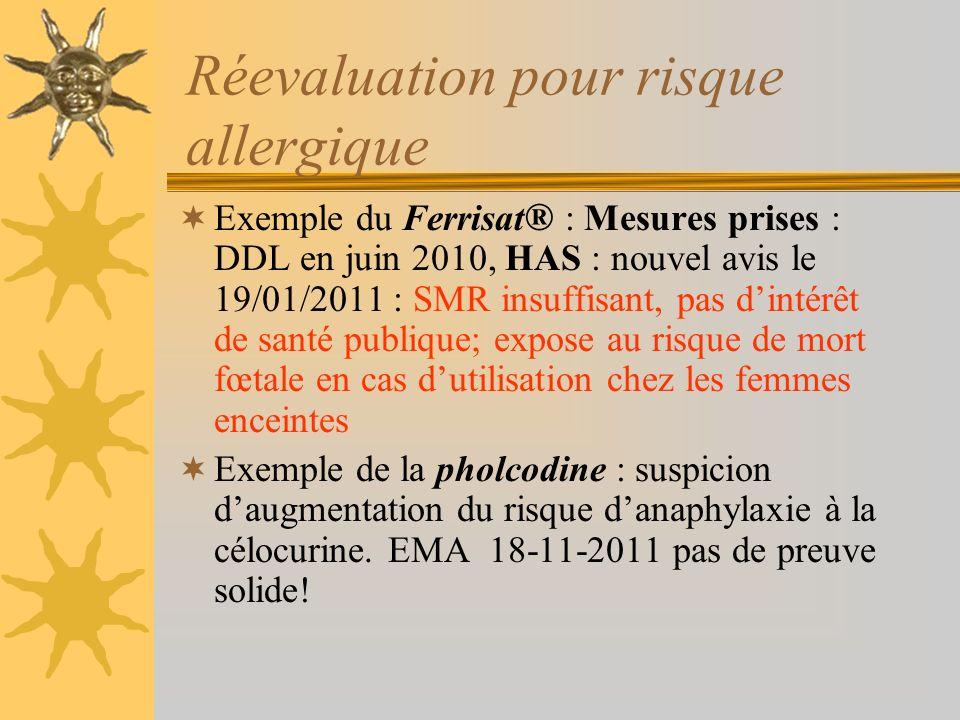 Réevaluation pour risque allergique Exemple du Ferrisat ® : Mesures prises : DDL en juin 2010, HAS : nouvel avis le 19/01/2011 : SMR insuffisant, pas