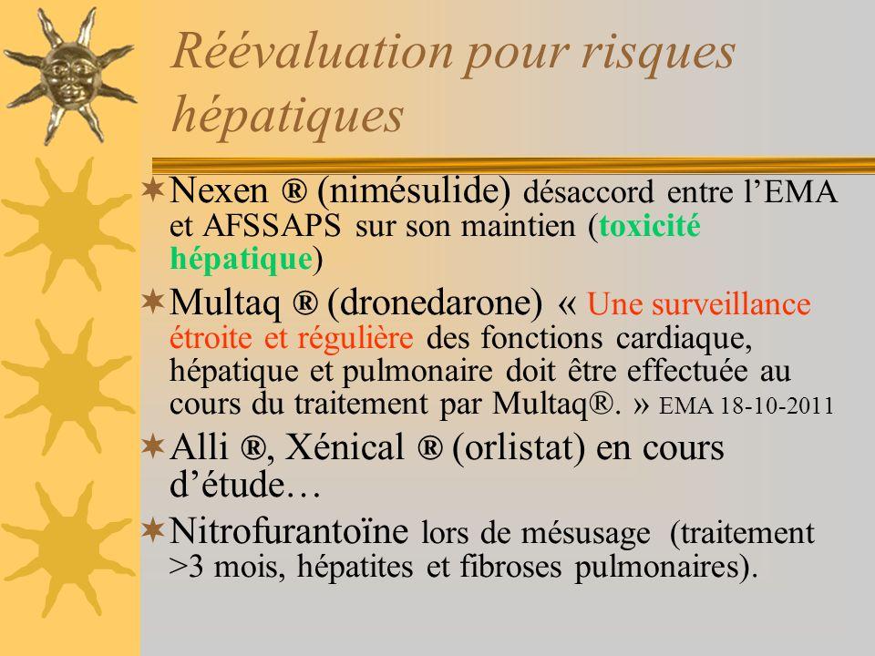Nexen ® (nimésulide) désaccord entre lEMA et AFSSAPS sur son maintien (toxicité hépatique) Multaq ® (dronedarone) « Une surveillance étroite et réguli