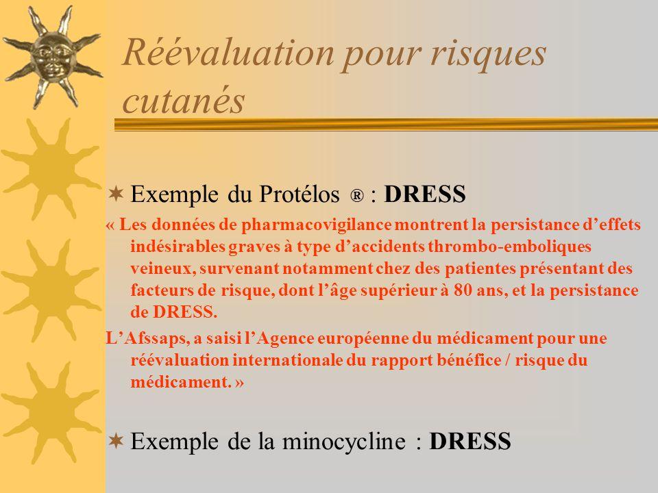 Réévaluation pour risques cutanés Exemple du Protélos ® : DRESS « Les données de pharmacovigilance montrent la persistance deffets indésirables graves