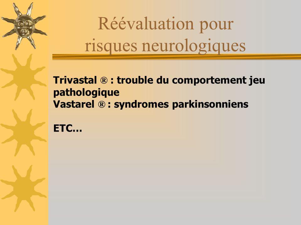 Réévaluation pour risques neurologiques Trivastal ® : trouble du comportement jeu pathologique Vastarel ® : syndromes parkinsonniens ETC…