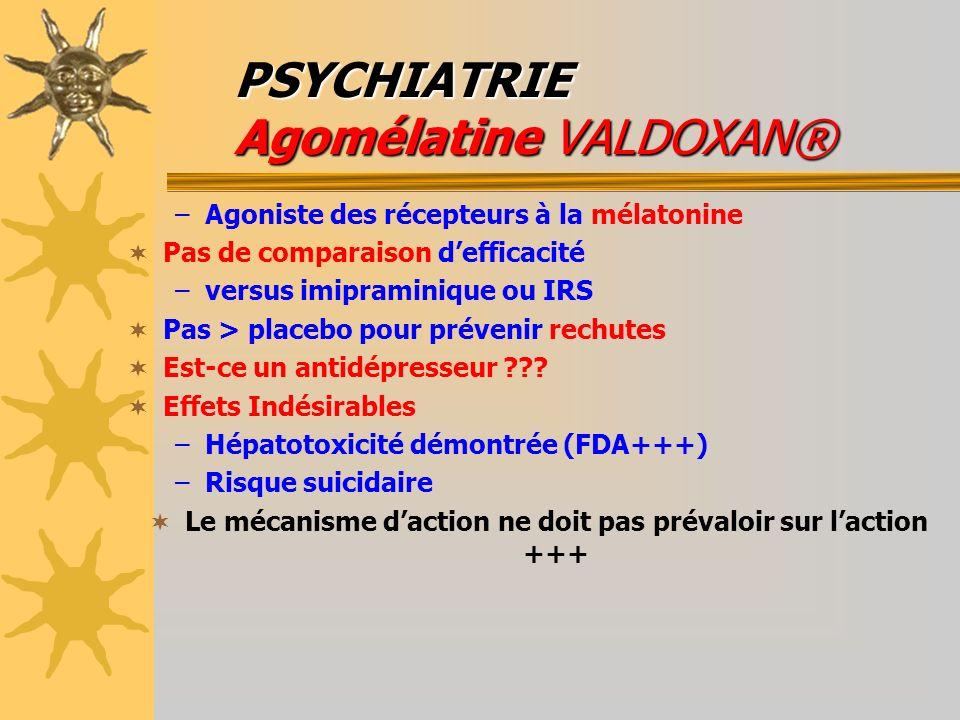 PSYCHIATRIE Agomélatine VALDOXAN® –Agoniste des récepteurs à la mélatonine Pas de comparaison defficacité –versus imipraminique ou IRS Pas > placebo p