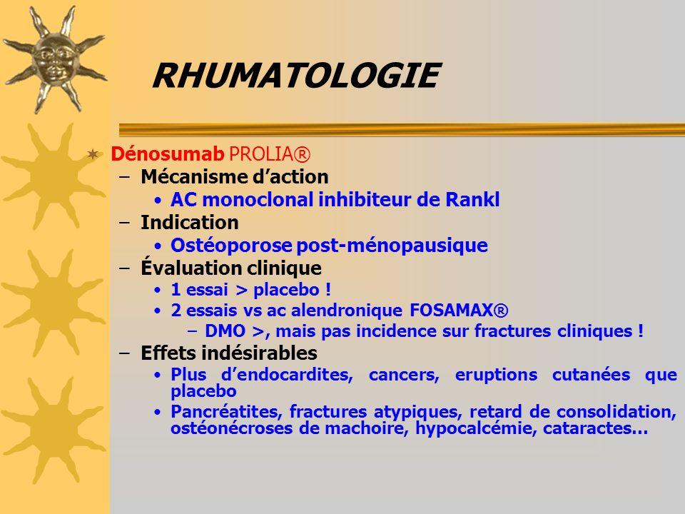 RHUMATOLOGIE Dénosumab PROLIA® –Mécanisme daction AC monoclonal inhibiteur de Rankl –Indication Ostéoporose post-ménopausique –Évaluation clinique 1 e