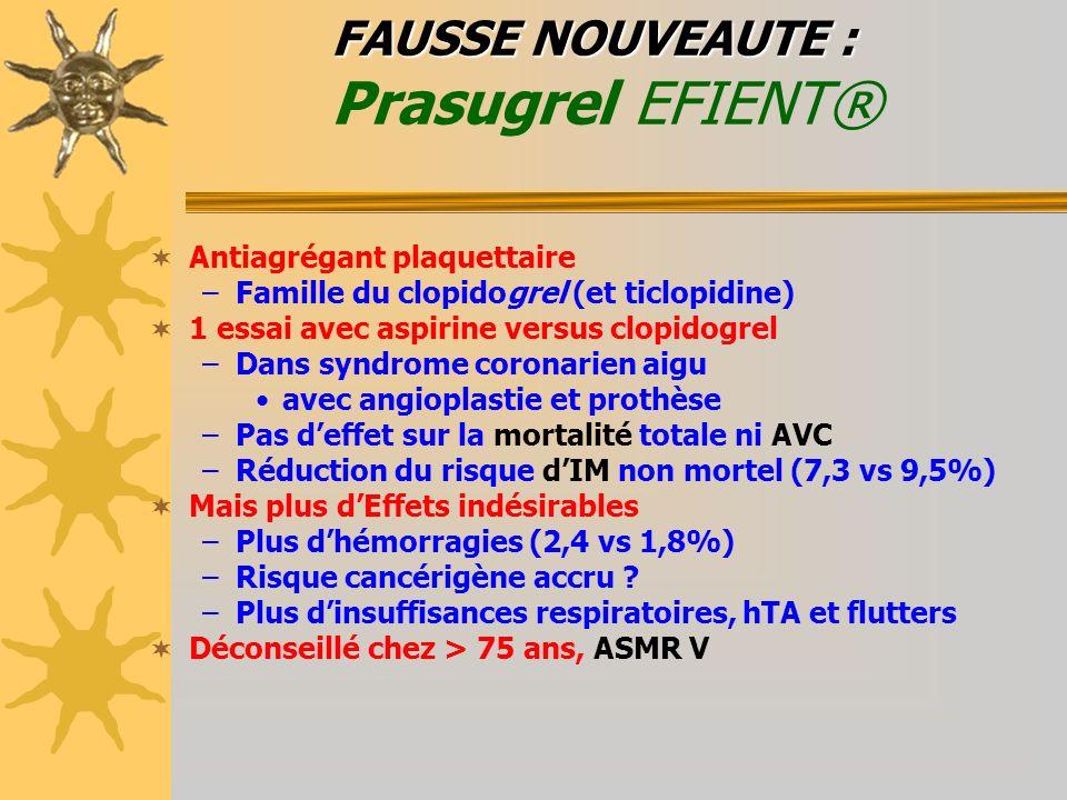FAUSSE NOUVEAUTE : FAUSSE NOUVEAUTE : Prasugrel EFIENT® Antiagrégant plaquettaire –Famille du clopidogrel (et ticlopidine) 1 essai avec aspirine versu