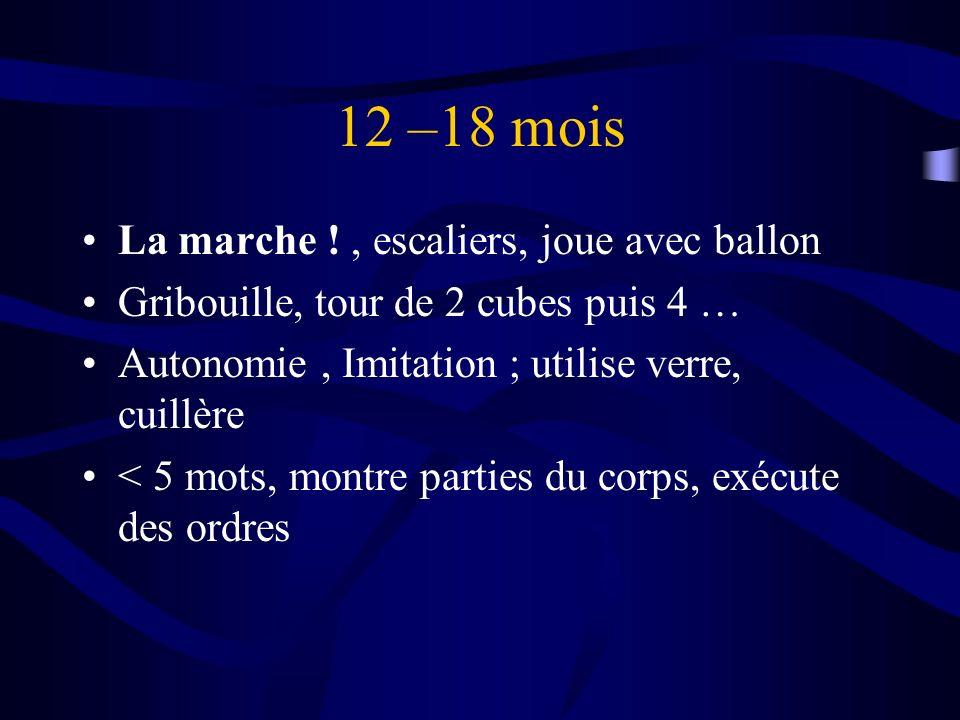 12 –18 mois La marche !, escaliers, joue avec ballon Gribouille, tour de 2 cubes puis 4 … Autonomie, Imitation ; utilise verre, cuillère < 5 mots, mon