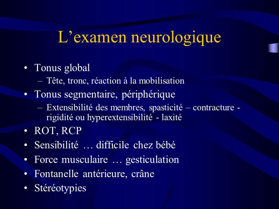 Lexamen neurologique Tonus global –Tête, tronc, réaction à la mobilisation Tonus segmentaire, périphérique –Extensibilité des membres, spasticité – co
